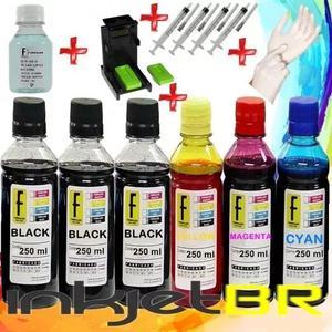 1600ml -kit tinta recarga cartuchos impressora hp + snap fil