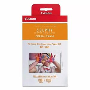 Kit canon rp108in fotos 10x15 p/ selphy cp 820 910 1000 1200