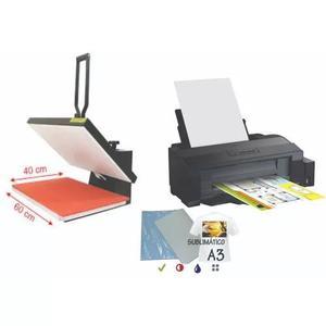 Kit sublimação prensa térmica plana combo a3 + impressora