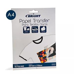Papel transfer camiseta p/ tecidos claros a4 - 10 folhas
