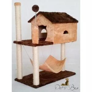 Arranhador casinha brinquedo com rede para gatos + kit pet