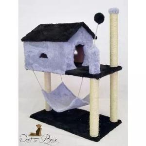 Arranhador casinha rede brinquedo para gatos + kit brinde