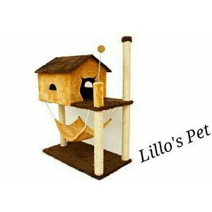 Arranhador gato casa com rede+kit gato