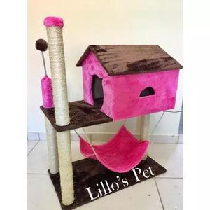 Brinquedo arranhador casa com rede + kit gato