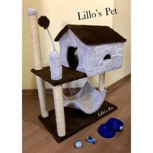 Brinquedo arranhador gato casa rede kit gato