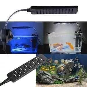 Led luminária aquário 48led luz azul/branca haste