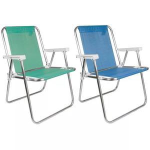 2 cadeira alta alumínio sannet praia verde azul lilas mor