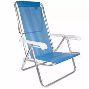 Cadeira de praia alumínio reclinável mor azul