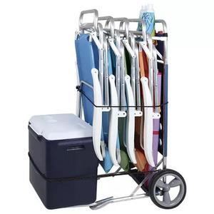 Carrinho de praia até 5 cadeiras c/ avanço caixa térmica