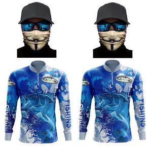 Kit 2 camiseta de pesca proteção solar uv e 2 bandana