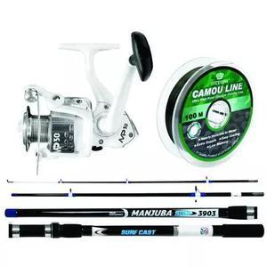 Kit para pesca de praia albatroz - vara manjuba 3,35 mt + mo