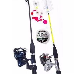 Kit pesca 2 molinetes+2 varas+ acessórios - promoção top