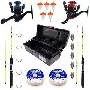Kit pesca completo 2 molinetes 2 varas + 17 itens top