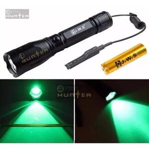 Lanterna de foco verde caça pesca noturna kit completo 2