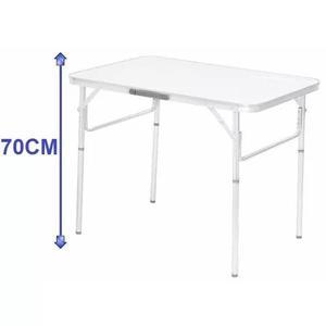 Mesa dobravel aluminio 90 x 60cm vira maleta camping