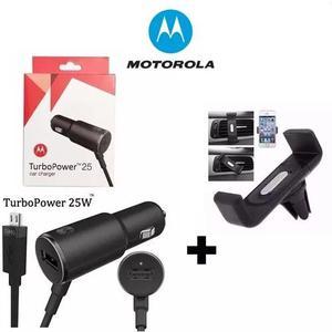 Carregador veicular turbo motorola 25w + suporte celular