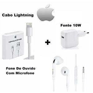 Kit apple cabo carregador original + fone iphone 5,5s,6,6s