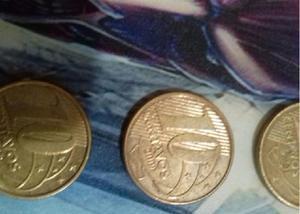 3 moedas raras de 10 centavos dos anos 2001, 2009 e 2012 co
