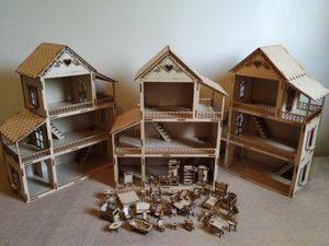 Casinha de boneca com móveis em mdf