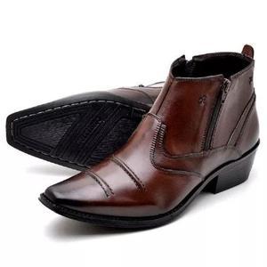 Bota botina masculina couro nobre cowboy country ziper 498abbeba43