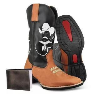 Bota botina texana country couro tião carreiro+carteira