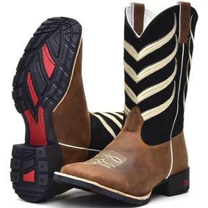 Bota country masculina bico quadrado texana couro cano longo 1bf5158af4