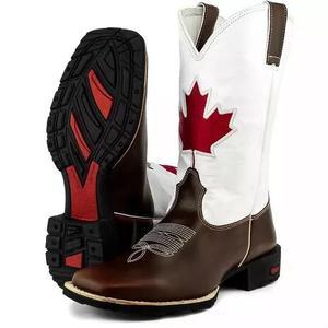 Bota country masculina canadá texana bico quadrado couro