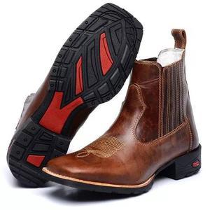 Bota masculina country botina cano curto bico quadrado couro