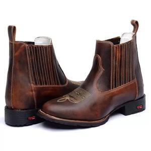 Botina masculina country couro bico redondo confortável.