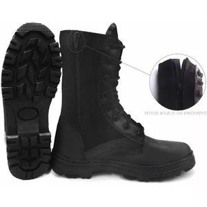 ef7176e48 Coturno bota militar tática com zíper couro extra leve