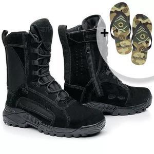 Coturno bota tático militar couro cano médio 9008 +