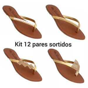 Kit 12 sandálias sortidas varios modelos atacado revenda