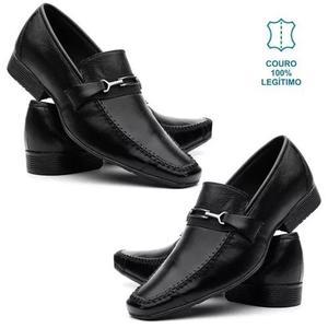 Kit 2 pares sapato social masculino couro com costura manual