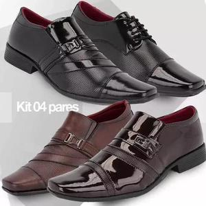 6a4b405d7 Kit 4 pares sapato social masculino verniz frete grátis em Brasil ...