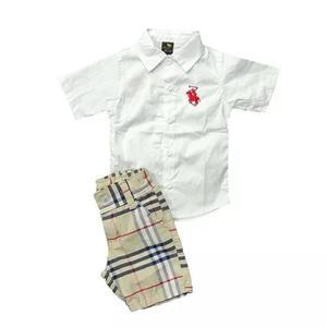 Kit infantil menino camisa social + bermuda xadrez criança