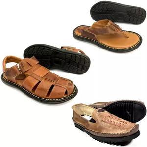 Kit sandália + chinelo + sapatilha masculina de couro drive