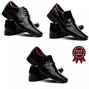 b2fa60c13 Kit sapato social verniz 3 pares vr franca promoção