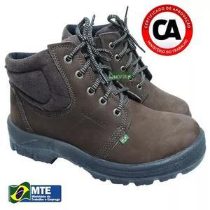 Nobuck botina bota segurança bico pvc café marrom
