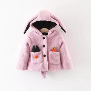 Roupa bebê menina casaco com touca criança coelhinha rosa