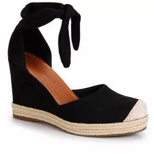 Sandália anabela espadrille bebecê - preto