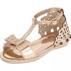 Sandália infantil menina plis calçs. florzinha dourada 649
