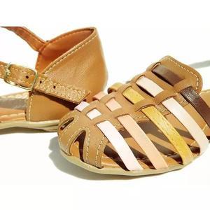 Sandália linda couro legítimo colorida f