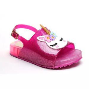 Sandália luz led pink unicórnio infantil menina criança