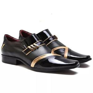 8c816f543 Sapato social gofer preto ouro couro verniz 0752
