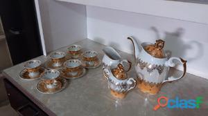Jogo café porcelana a ouro steatita