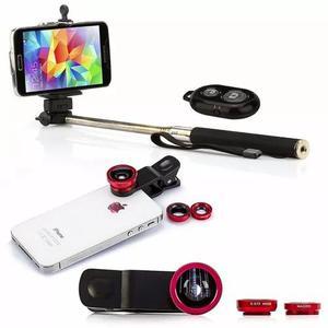 Kit celular lentes pau de selfie + capa a prova dagua