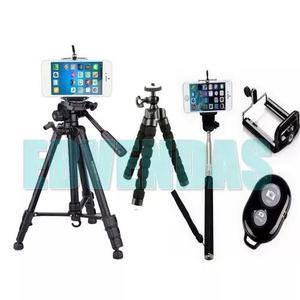 Tripé celular camera 1.80 m + mini tripé flexível + kit