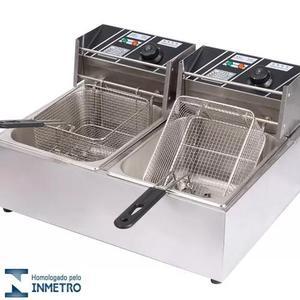 Fritadeira elétrica 2 cubas 220v inox 12lts c/ tampas