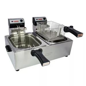 Fritadeira elétrica profissional 10 litros 2 cubas 5 litros