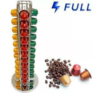 Suporte giratório cromado porta 40 cápsulas café